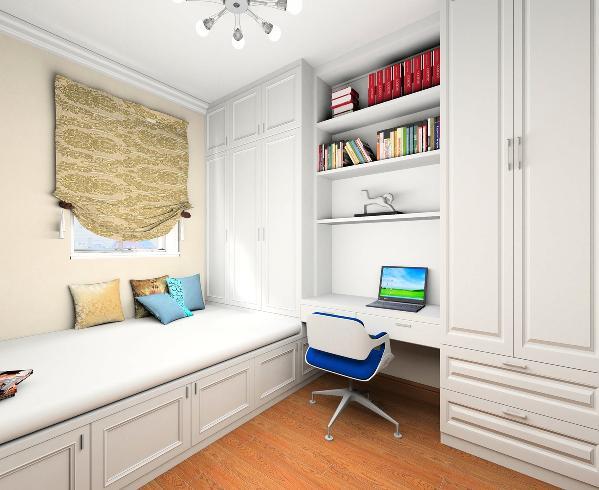 次卧功能兼具了大量的储物功能和客卧功能,所以采用了榻榻米,既可以满足居住需求又增加了大量的储物空间,家具采用的定制家具,节省空间增加储物功能,色调采用白色家具增加空间明亮感,使小空间充满活力。
