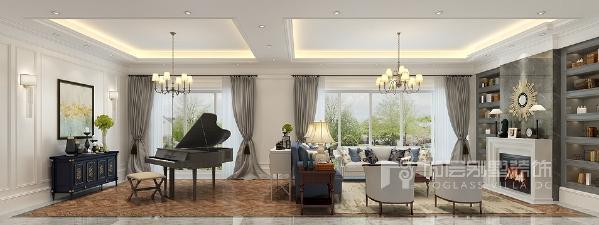 一层客厅空间采用白色护墻板和灰色大理石搭配,使得整体空间干净利落。简单的背景加上简单的顶面装饰,增减有度,丰富空间表情。灰色烤漆的三角钢琴恰到好处的融入在整个空间中,不多不少,刚刚好