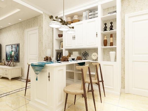 由于餐厅和客厅相同,色调采用了一致的色调,地面铺装采用波打线增加地面层次感。餐桌采用了定制家具,使餐边柜和餐桌融为一体,增加储物空间,节省空间