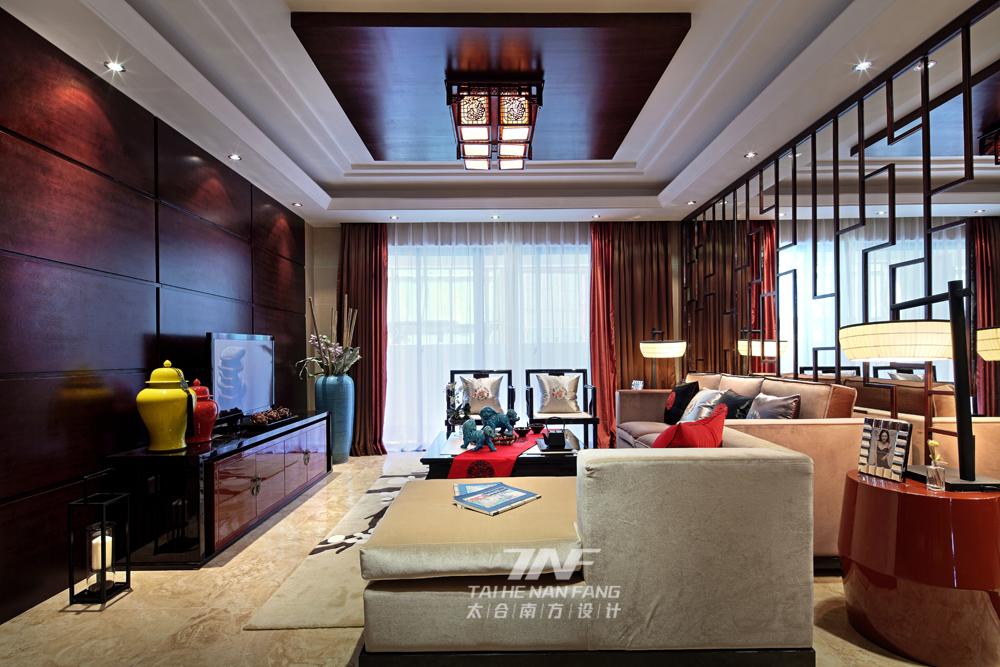 中式风格  样板房设计 三居 客厅图片来自王五平设计在广西来宾海德堡三号样板房的分享