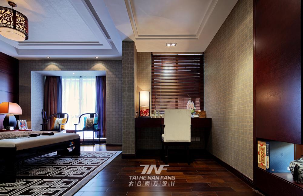 中式风格  样板房设计 三居 卧室图片来自王五平设计在广西来宾海德堡三号样板房的分享