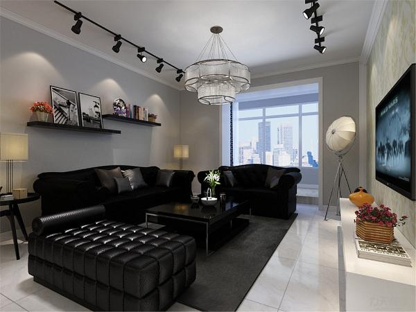 客厅的设计较为简单,沙发的选择为三加一加榻的样式,沙发背景墙做了简单的隔板,放有简单的装饰物,电视背景墙的设计为石膏线圈边,里面贴壁纸,顶面的设计很简单,就用了石膏线圈边,顶面有两排射灯