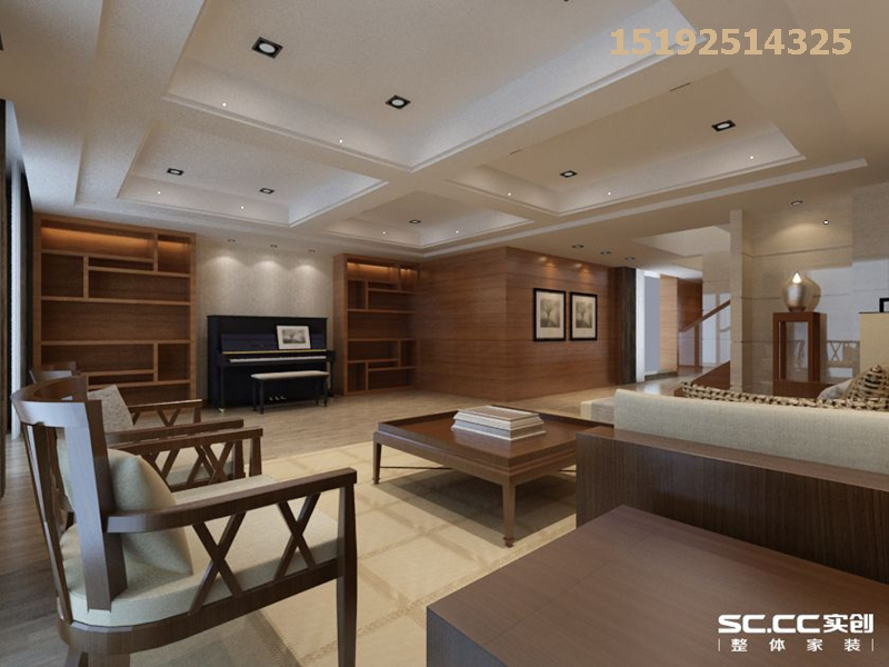 新中式 实创 青实 樱花郡 客厅图片来自快乐彩在青实樱花郡新中式两居室139平的分享