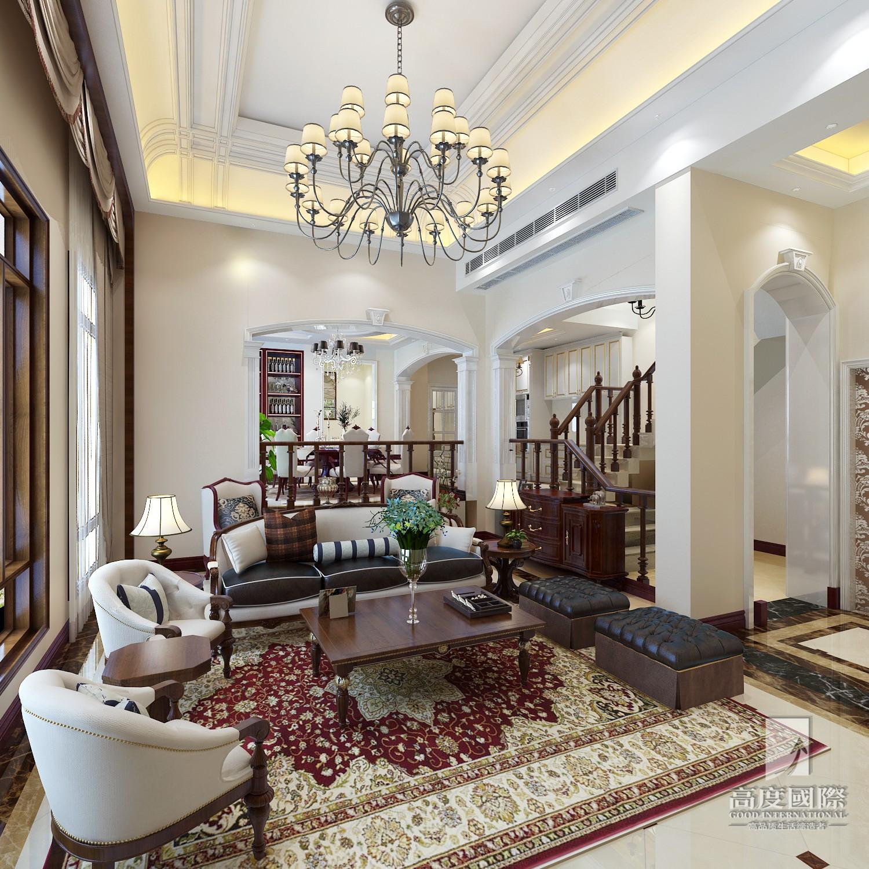 别墅 高度国际 客厅图片来自杭州别墅装修设计在东海闲湖城排屋别墅美式风格的分享