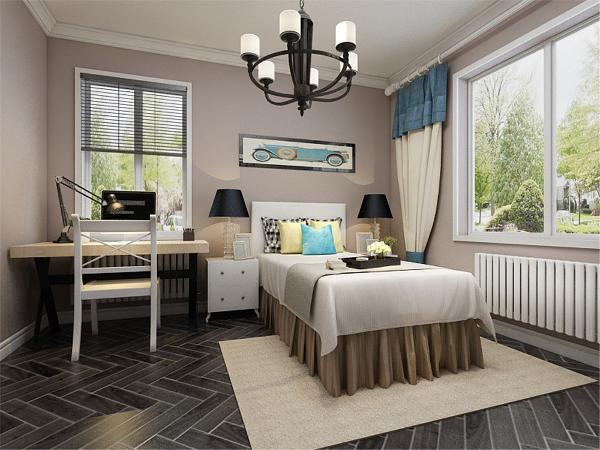 主卧室背景墙用挂画做装饰,灰色、木色搭配的床整体体现温馨的感觉,柔和的色调,不会显得混乱。