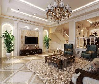 鸿坤林语墅-377平米-美式风格