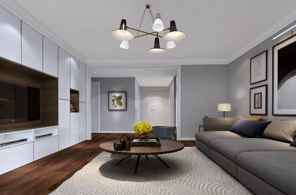 门厅规划出两个储物空间,入户的鞋柜和步入式的储物间。由于套内面积小,房间少,所以在客厅电视墙也增加了储物功能。
