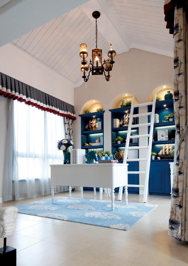 别墅 旧房改造 地中海风格 loft装修 书房图片来自元洲装饰木子在地中海风格装修设计的分享