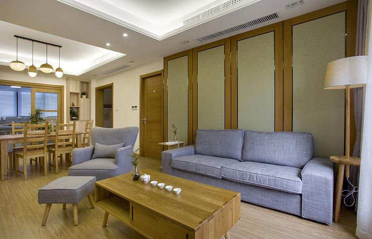 客厅图片来自家装大管家在无印良品风格 88平原木雅致3居的分享