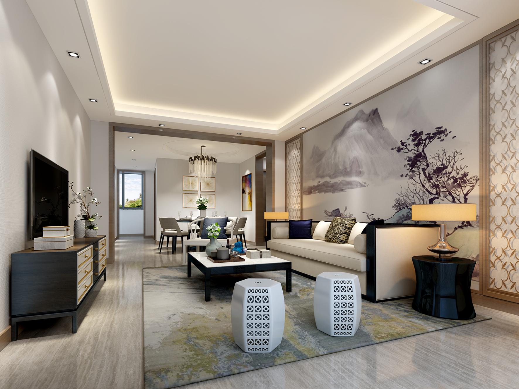法式 四居 客厅图片来自轻舟装饰-90后的华仔在安园小区-160平米-新中式的分享