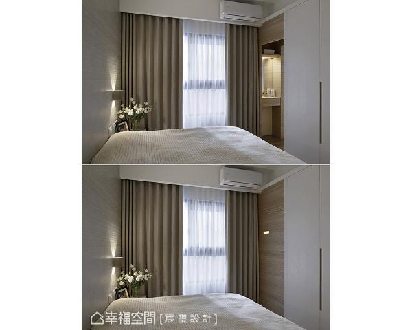 于主衣柜左侧规划一道隐藏门,做为进入化妆区与卫浴空间的入口。