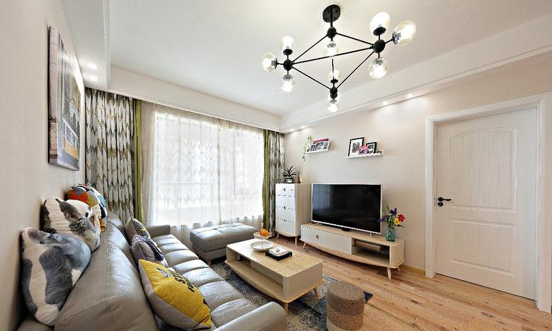 客厅图片来自家装大管家在89平北欧清新之家 文艺青年之选的分享