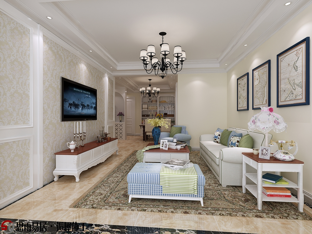 欧式 二居 简约 87平米 客厅图片来自思雨易居设计在《悠然》月城熙庭87平简欧2居的分享