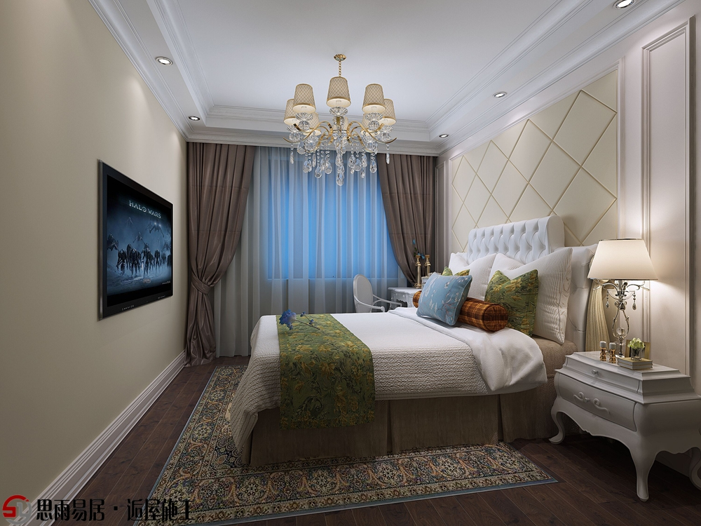 欧式 二居 简约 87平米 卧室图片来自思雨易居设计在《悠然》月城熙庭87平简欧2居的分享