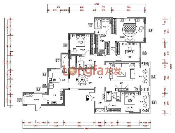 海珀香庭240平米  简约风格 平面布置图