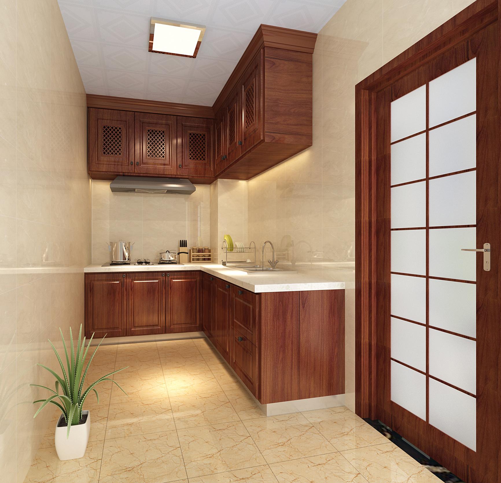 中式 风格 二居 厨房图片来自轻舟装饰-90后的华仔在融城-120平米-中式风格的分享
