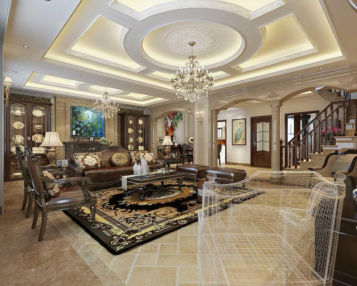 别墅 欧式 客厅图片来自轻舟装饰-90后的华仔在翡丽庄园-380平米-欧式风格的分享