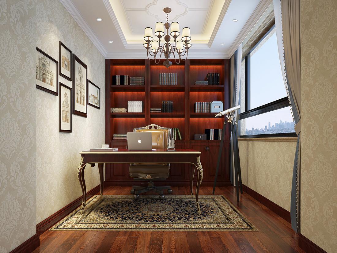 别墅 欧式 书房图片来自轻舟装饰-90后的华仔在翡丽庄园-380平米-欧式风格的分享