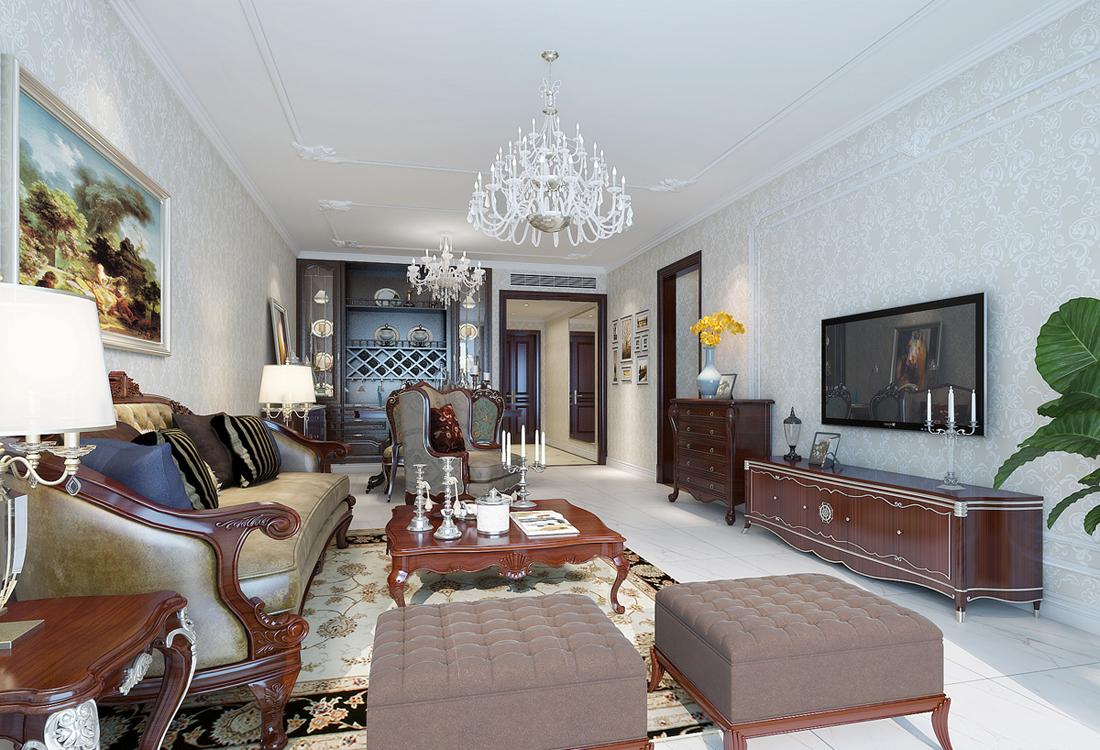 欧式 四居室 客厅图片来自轻舟装饰-90后的华仔在海晟名苑-160平米-简约欧式的分享