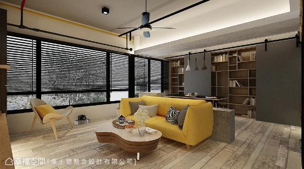 设计师Philips因应空间设计,家俬特意选用跳色款式活络公领域色彩调性。 (此为3D合成示意图)