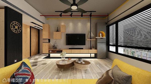 保留建商粉光墙面,加入木质语汇、铁件、色彩点缀,形塑休闲工业风宅邸。 (此为3D合成示意图)
