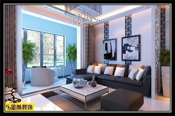 女主人爱黑白灰,家里的家具都是黑白灰系列的,背景墙和影视墙相呼应,都运用了镜面的设计,而且背景墙挂的两幅画呼应的家具的应用~