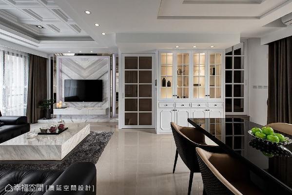 公领域采开放式规划带来明亮宽敞感,以天花板做为无形中的场域界定,使用线板堆栈出宫格造型,创造向上延伸的视觉。