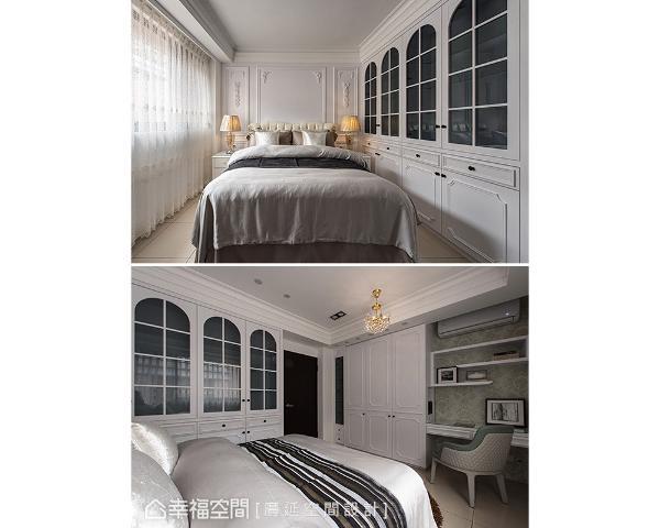 柜体加入玻璃格窗造型挹注古典氛围,让立面视觉更加轻盈通透;衣柜旁规划为书桌兼化妆区,善用垂直空间增加收纳和展示设计。