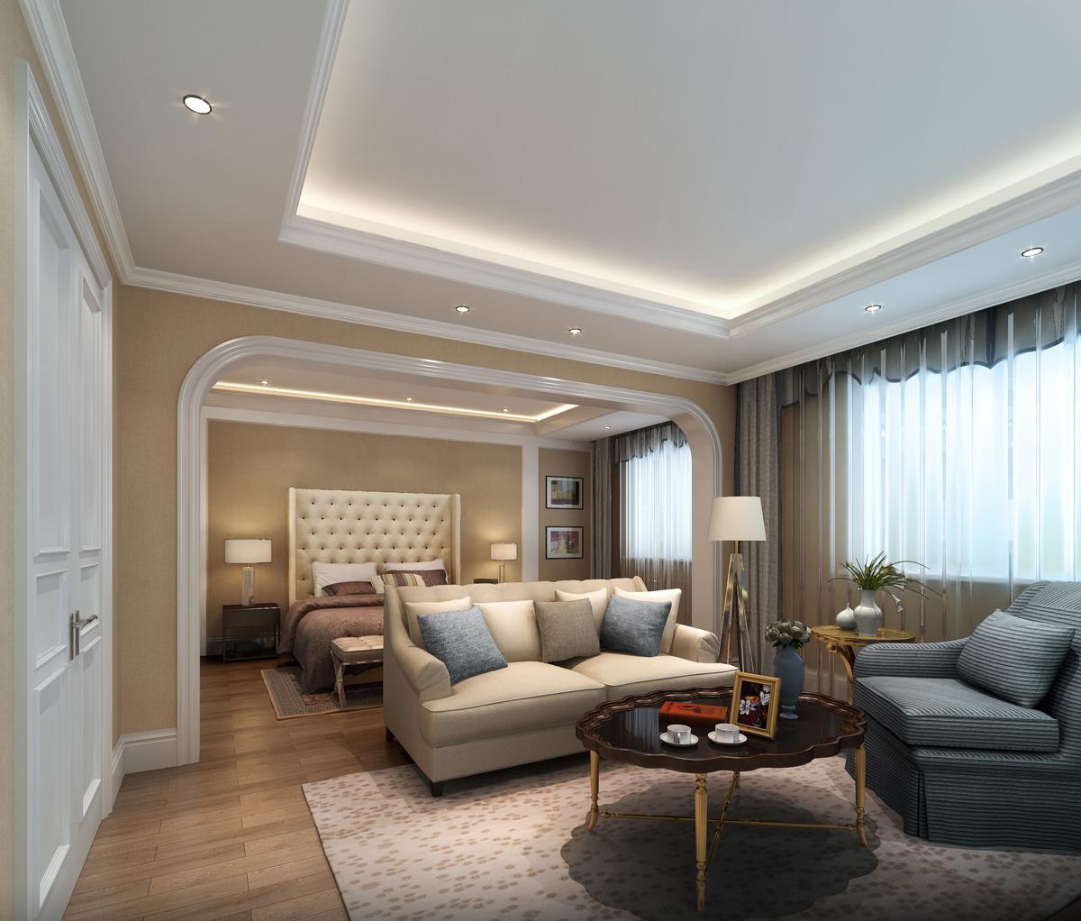 简约 美式 别墅 卧室图片来自轻舟装饰-90后的华仔在亚运新新家园-480平米-简美风格的分享