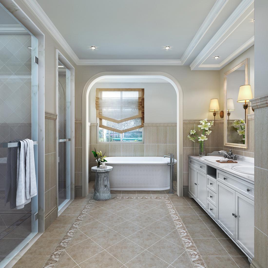 简约 美式 别墅 卫生间图片来自轻舟装饰-90后的华仔在亚运新新家园-480平米-简美风格的分享