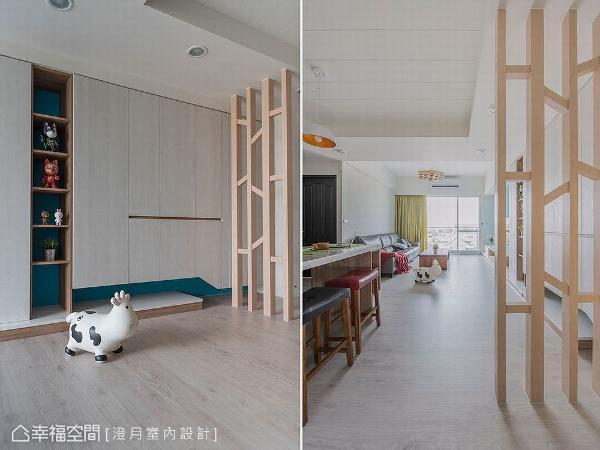 澄月室内设计使用木作隔屏化解风水禁忌,以镂空设计形成通透视线,藉由斜纹造型折射出丰富光影层次。