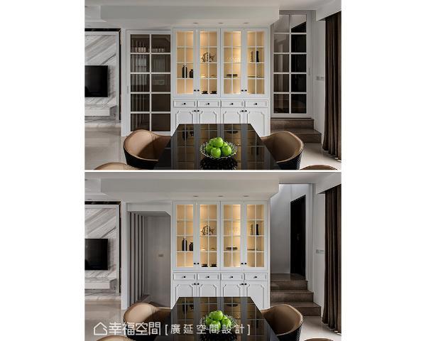 运用梯厅口规划一座展示收纳柜,两侧设置玻璃格窗拉门,完全关闭后形成一道美丽端景,吸引观者视线忍不住停留于此。