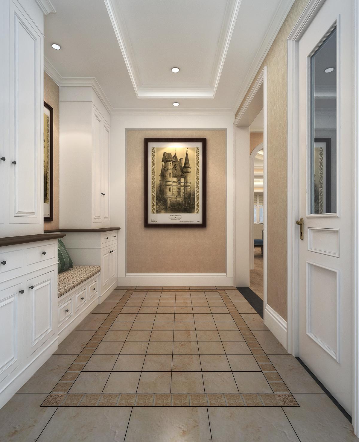 简约 美式 别墅 玄关图片来自轻舟装饰-90后的华仔在亚运新新家园-480平米-简美风格的分享