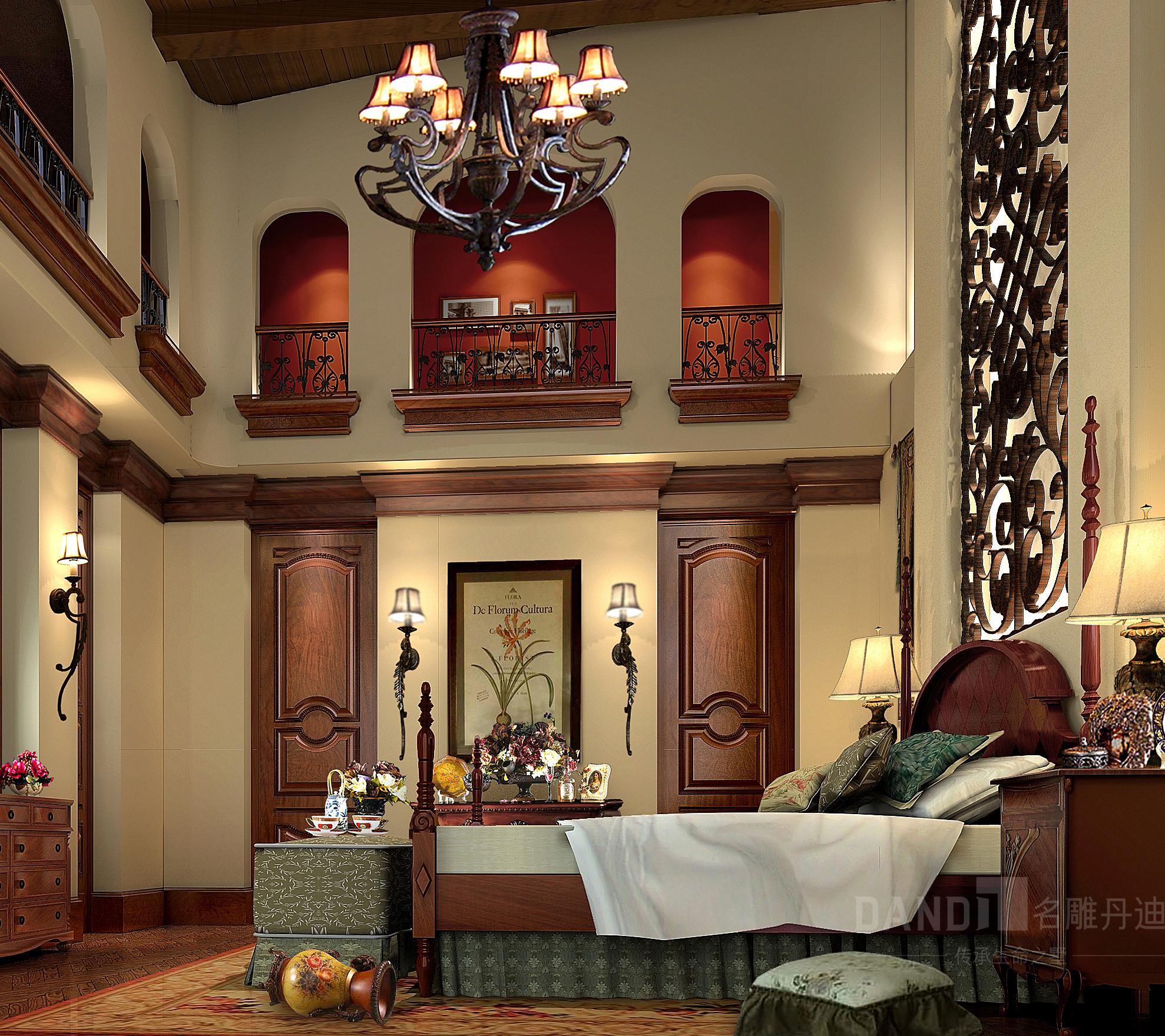 欧式 美式 混搭 别墅 卧室图片来自名雕丹迪在观澜大宅别墅美式风格装修的分享