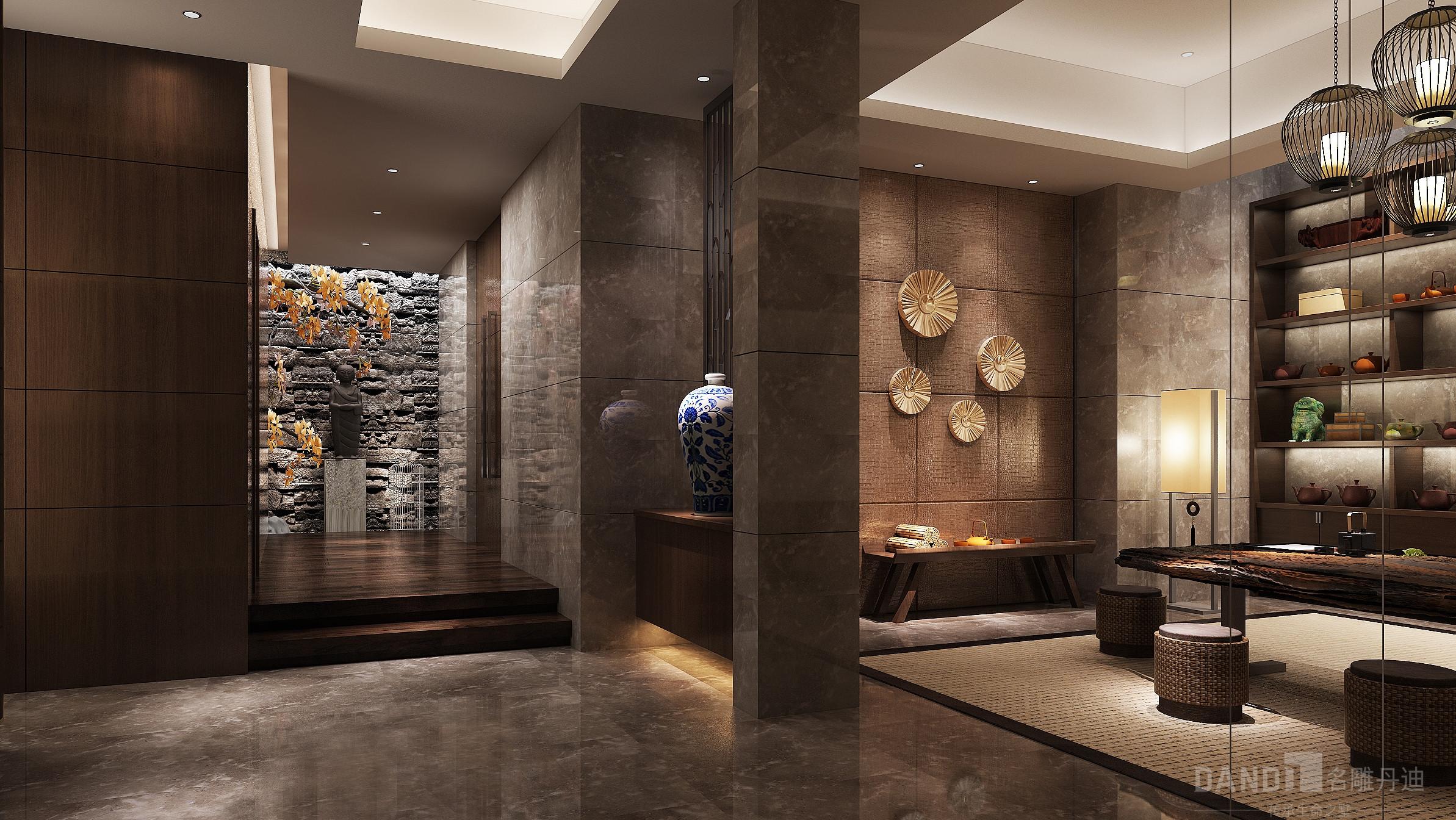 简约 混搭 别墅 新中式 玄关图片来自名雕丹迪在万科璞悦山别墅新中式装修风格的分享