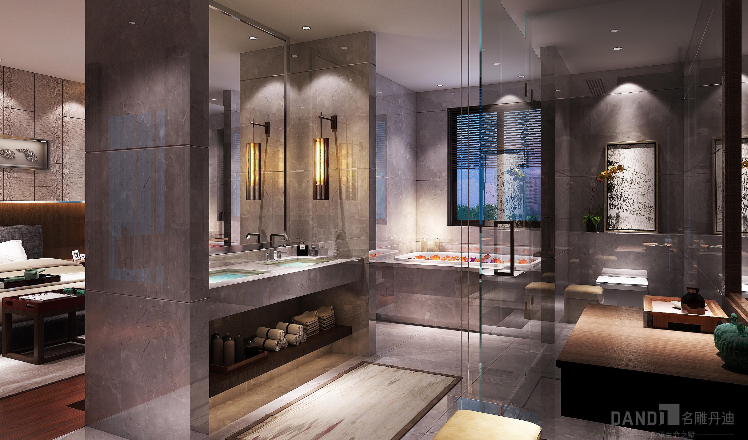 简约 混搭 别墅 新中式 卫生间图片来自名雕丹迪在万科璞悦山别墅新中式装修风格的分享