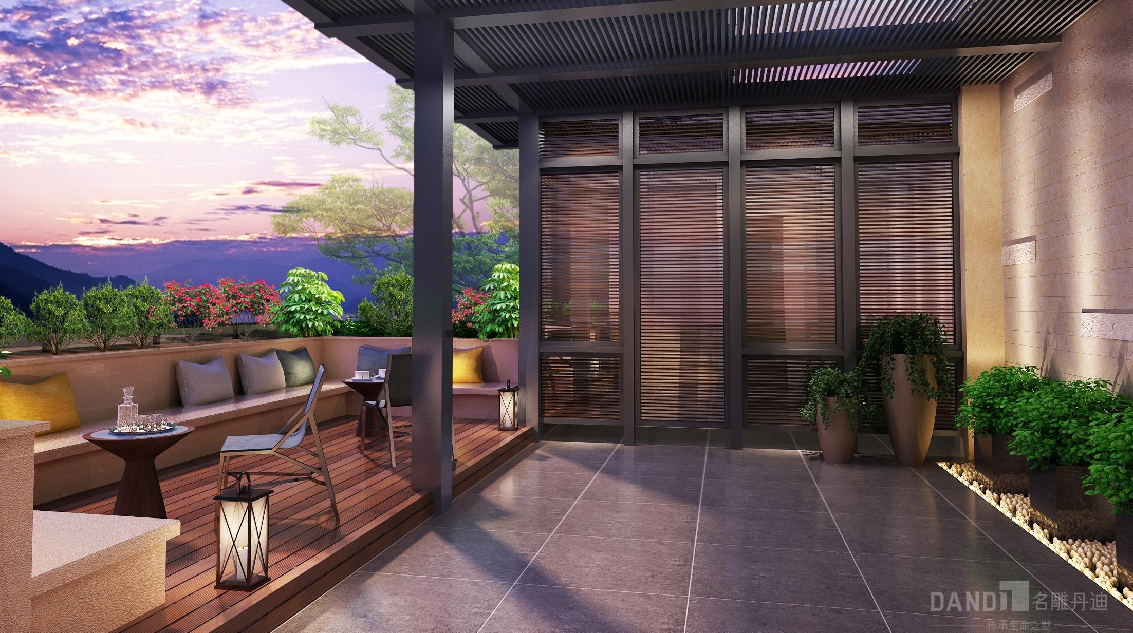 简约 混搭 别墅 新中式 阳台图片来自名雕丹迪在万科璞悦山别墅新中式装修风格的分享