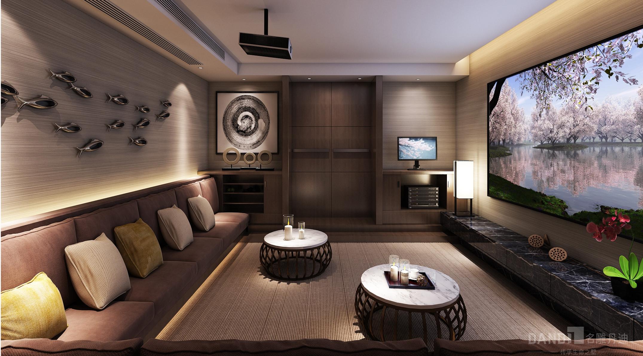 简约 混搭 别墅 新中式 客厅图片来自名雕丹迪在万科璞悦山别墅新中式装修风格的分享