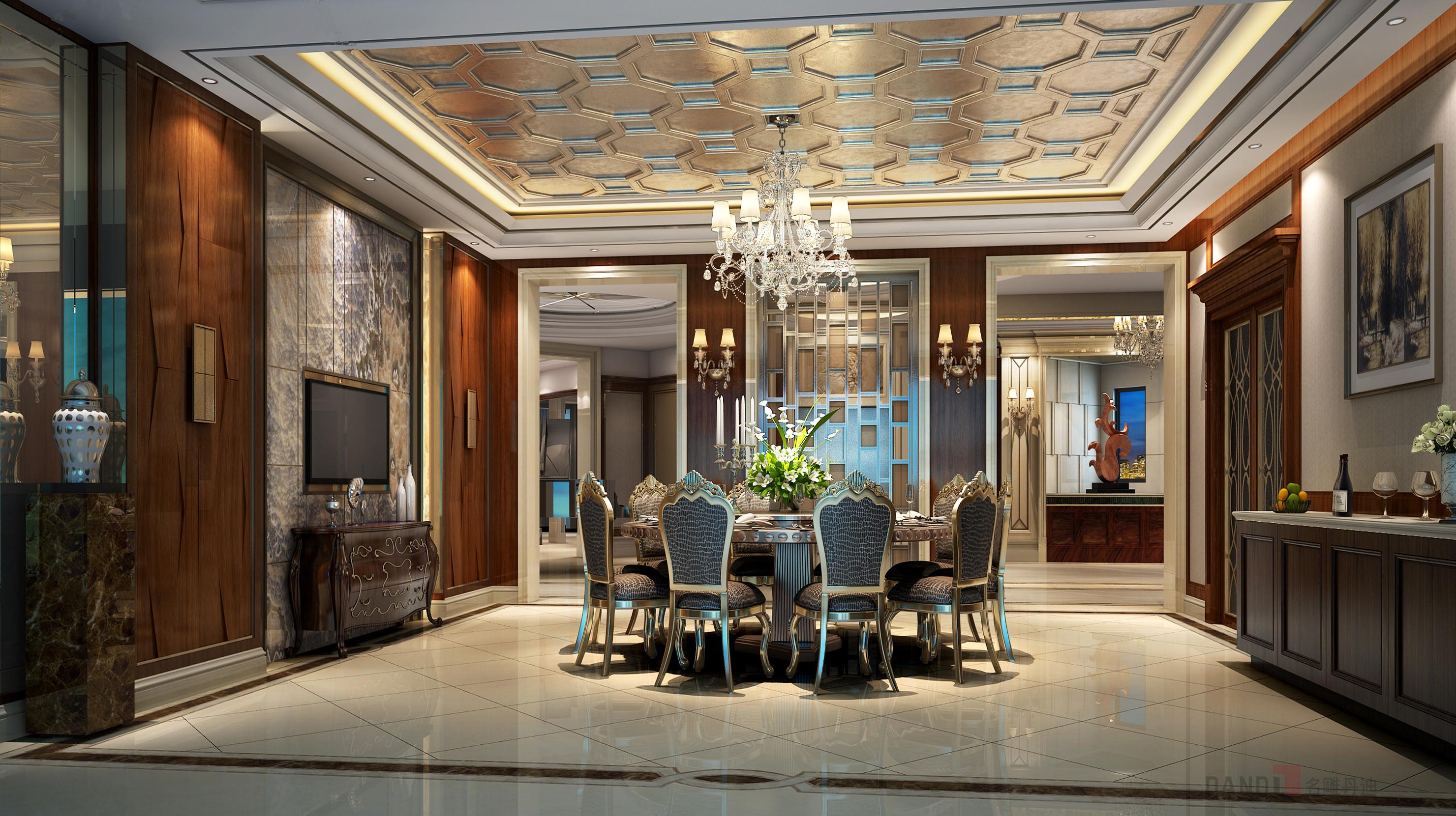 南加州风格 别墅 混搭 餐厅图片来自名雕丹迪在湖景一号别墅南加州风格装修的分享