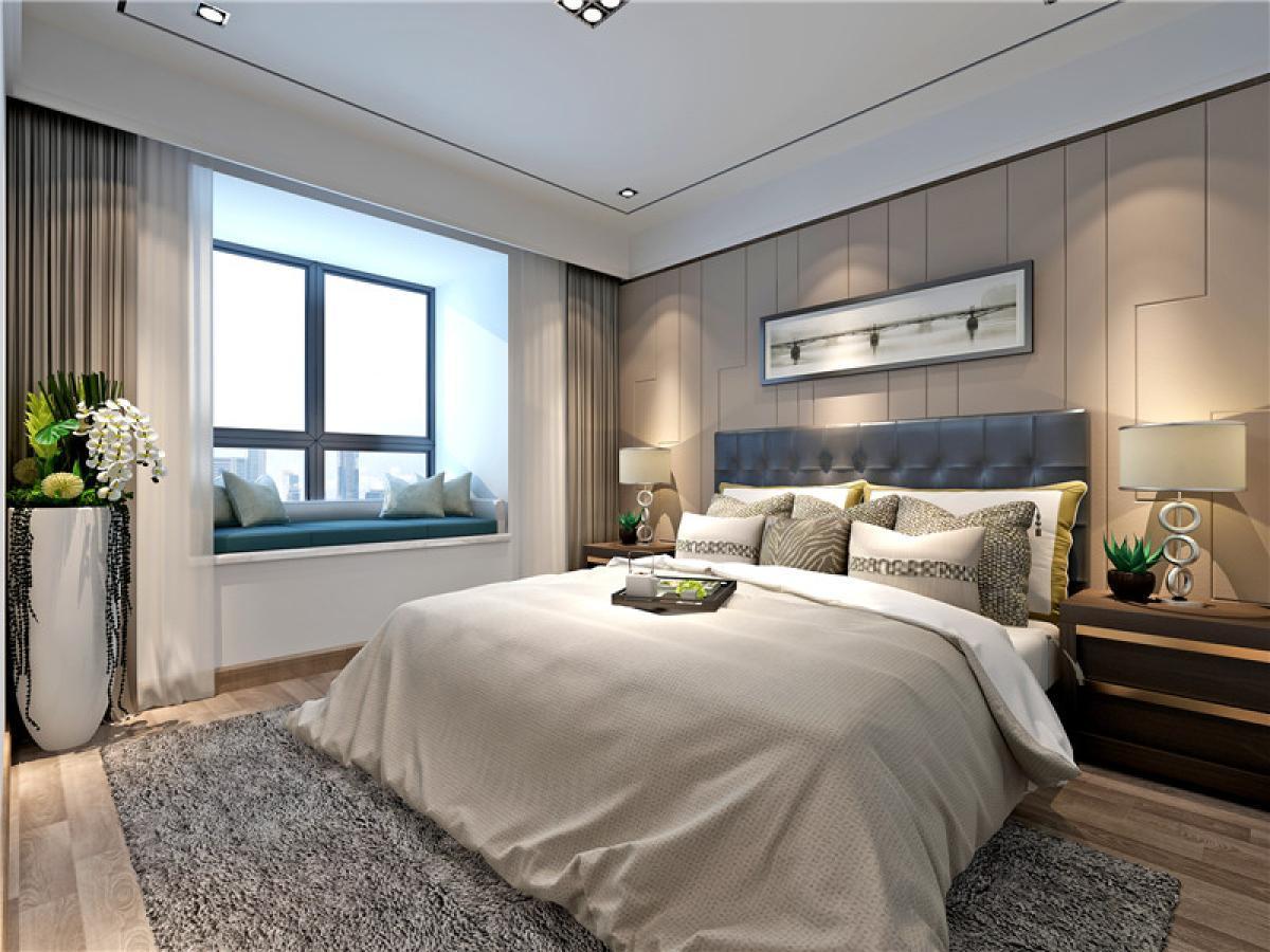 简约 三居 别墅 收纳 旧房改造 卧室图片来自日升嬛嬛在天鹅堡顶楼复式简约风格装修的分享