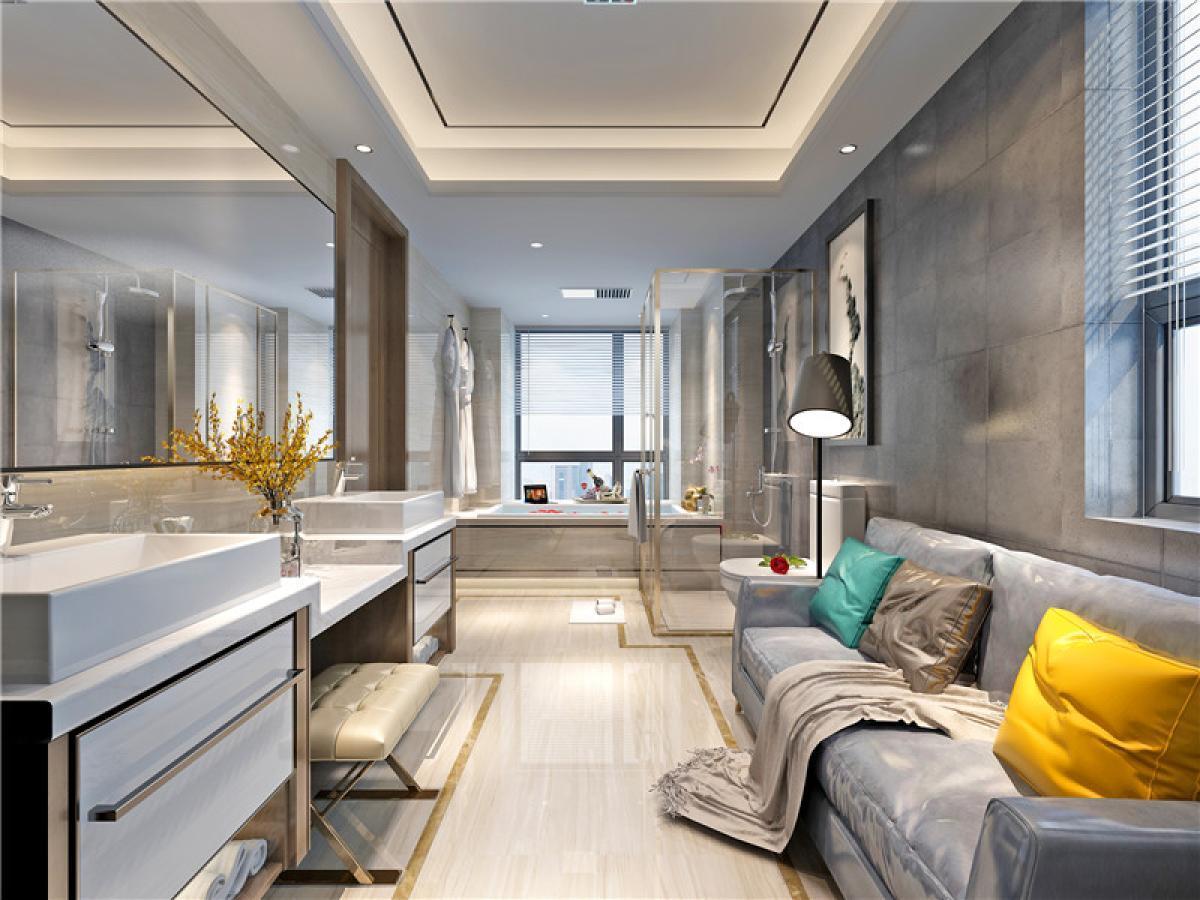 简约 三居 别墅 卫生间图片来自日升嬛嬛在天鹅堡顶楼复式简约风格装修的分享