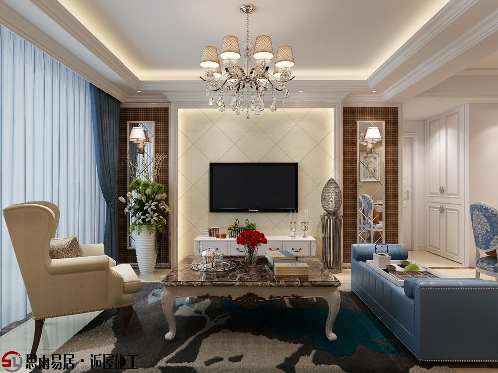 简欧 三居 朗悦华府 102平米 客厅图片来自思雨易居设计在《花田半亩》朗悦华府102平简欧的分享