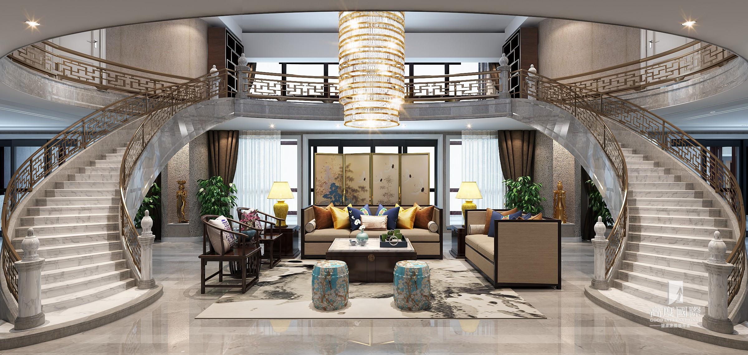 复式 高度国际装 客厅图片来自杭州别墅装修设计在750方复式新中式风格作品的分享