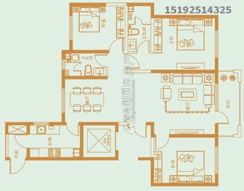 简约 都市果岭 实创 三居 户型图图片来自快乐彩在都市果岭137平三居室现代简约的分享