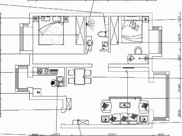 本案为裕阳花园两室两厅一厨一卫104㎡的户型。从片面效果图来看,入户门正对为客厅。入户门左边往里走左侧为主卧,正对为卫生间,右侧为次卧,然后为客厅。   整体户型方正规则,功能划分明确,便于设计。