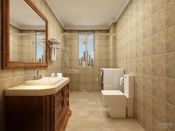 卫生间也已暖黄色瓷砖铺设,室内设有淋浴,洗手盆,坐便,洗衣机,功能齐全。