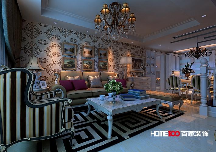 客厅 卧室图片来自百家装饰小西在其仕盛和祥104平新古典式跃层的分享