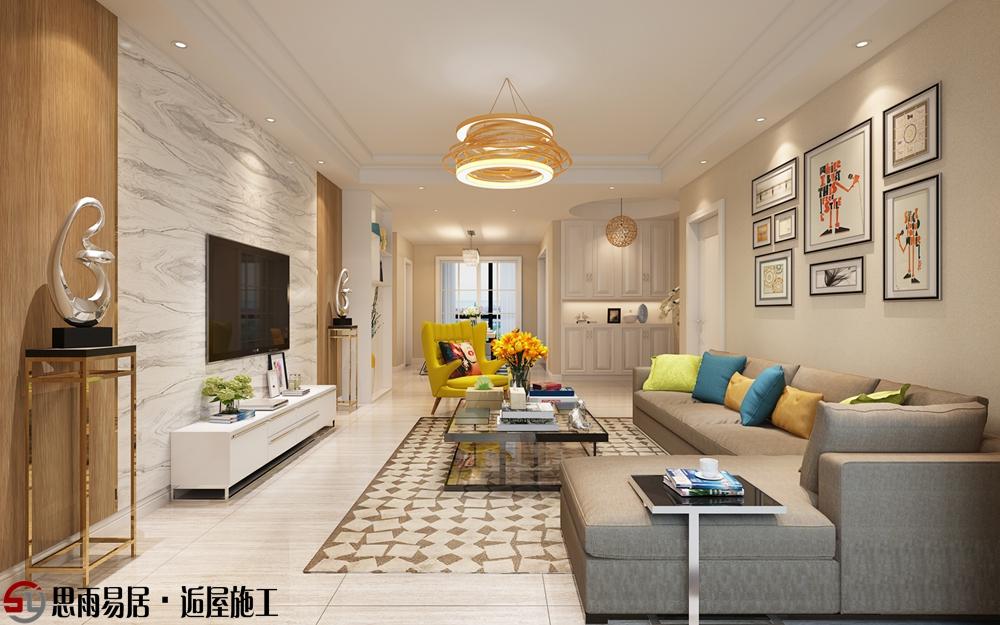 简约 三居 朗悦华府 125平米 客厅图片来自思雨易居设计在《清馨恋家》朗悦华府现代简约的分享