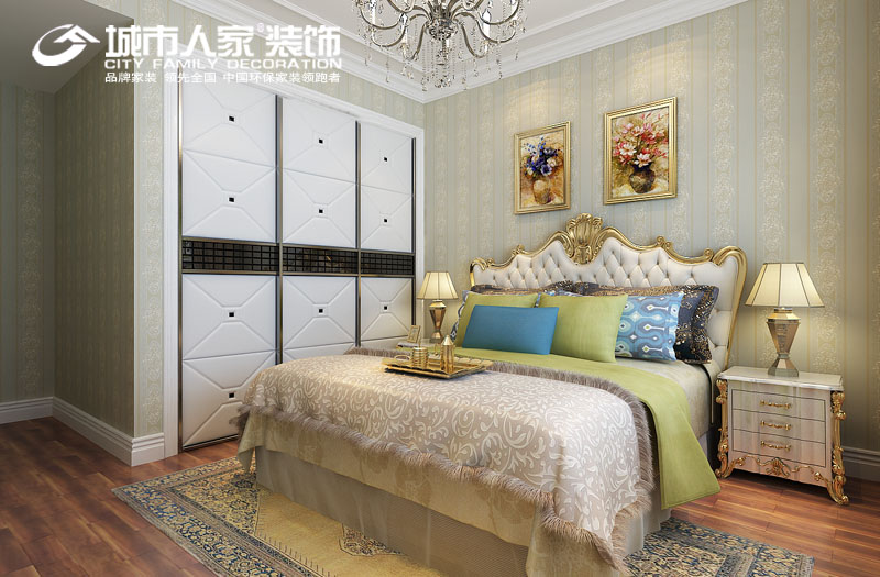 简欧风格 绿地卢浮 城市人家 样板间征集 装修公司 卧室图片来自太原城市人家装饰在绿地卢浮公馆300平米简欧风格的分享