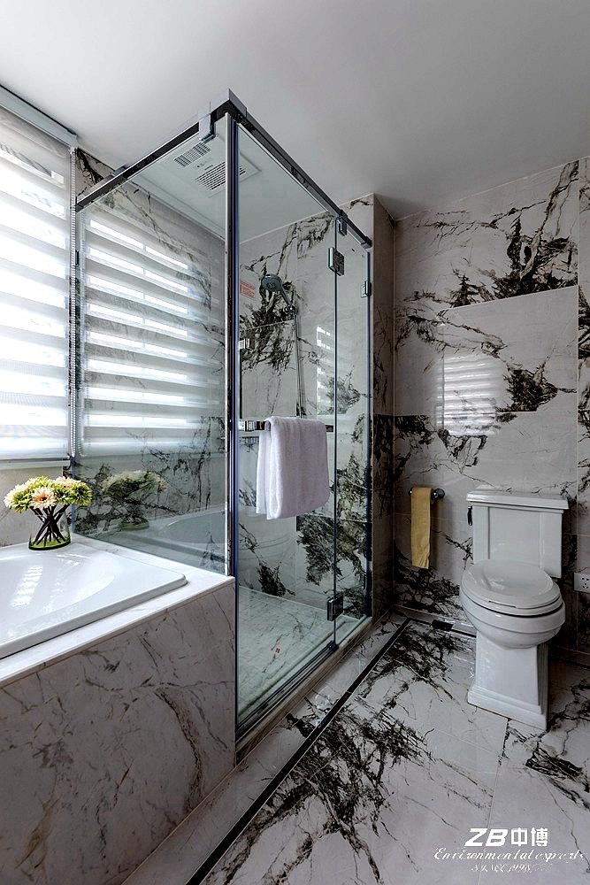 现代中式 中博装饰 别墅 白领 小资 收纳 混搭 卫生间图片来自中博装饰在府尚别墅400方现代中式舒适居家的分享